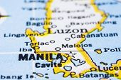 Close Up Of Manila On Map, Philippines