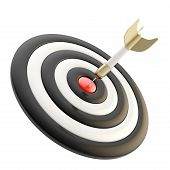 Objetivo objetivo marca brillante con Dart aislado en blanco