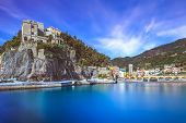 stock photo of inlet  - Monterosso al Mare fisherman village harbor rocks and sea bay landscape - JPG