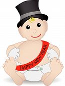 Adorable Baby New Year Wearing Hat And Gloves