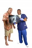 Doctor Explaining X-Ray To Surprised Patient