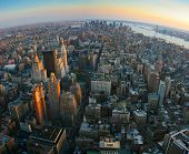 Fisheye View Over Lower Manhattan, New York