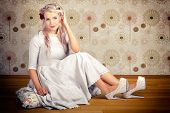Portrait Of Blonde Girl With Classic Fashion Style