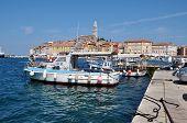 The harbor of Rovinj city, Croatia