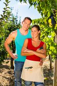 Winegrower, Woman and man standing at vineyard and smiling in the sunshine