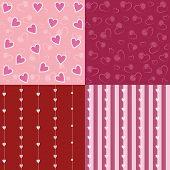 Set Of Valentine Seamless Retro Pattern