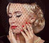 Retro Woman Portrait. Jewelry And Beauty. Fashion Photo