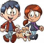 Cartoon couple walking dog. Vector clip art illustration with simple gradients. Each in a separate layer for easy editing.