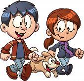 Cão andar do casal dos desenhos animados. Vetor clip art ilustração com gradientes simples. Cada um em um separado l