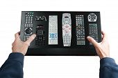 Man Holds A Complex Remote Control