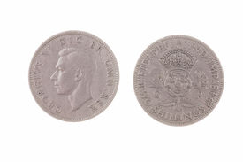 stock photo of shilling  - 1948 British 2 shillings coin no longer in use and out of circulation - JPG