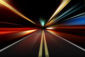 picture of acceleration  - acceleration of the motion on the night road - JPG