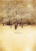 Calendar Retro. February. Vintage Winter Landscape.