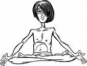 Man In Lotus Meditation Cartoon