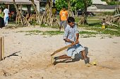 Bentota, Sri Lanka - Apr 28: Children Play Cricket With Bat And Ball On Sandy Beach On Apr 28, 2013