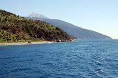 Marine with mountains and the Holy Mount Athos on the background