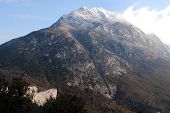 Peak of Mount Athos or Holy Mountain with clouds