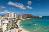 stock photo of waikiki  - Scenic view of Honolulu city Diamond Head and Waikiki Beach in summer day - JPG
