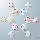 Six Gears Hexagon Six Circles Infographic Design