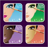 Set Of Makeup Young European, Asian, African Women.