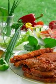 Barbecue And Vegetables.