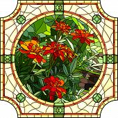foto of marigold  - Vector mosaic with large cells of brightly red marigold with buds in round stained - JPG