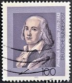A stamp printed in Germany shows Friedrich Holderlin