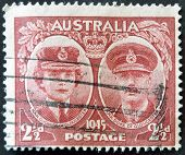 Australia - Circa 1945: Stamp Printed By Australia Shows Duchess And Duce Of Gloucester, Circa 1945.
