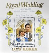 A stamp printed in DPR Korea dedicated to royal wedding of the prince of wales to Lady Diana Spencer