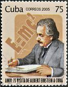 A stamp printed in Cuba dedicated to anniversary of Albert Einstein's visit to Cuba
