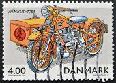 DENMARK - CIRCA 2002: A stamp printed in Denmark shows a motorcycle nimbus 1953 circa 2002