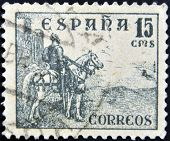 A stamp printed in the Spain shows a national hero of Spain's El Cid Campeador on a horse