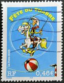 A Stamp Printed In France Shows Cartoon Lucky Luke