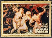 A stamp shows painting