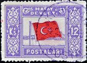 Turkey - Circa 1939: A Stamp Printed In Turkey Shows Flag With Star And Crescent, Circa 1939