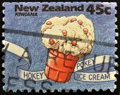 A stamp printed in New Zealand shows hokey pokey ice cream Kiwiana series