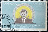 A stamp printed in Panama shows image of John Fitzgerald Kennedy was the 35th President of the USA