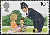 a stamp shows Police Constable and Children 150th anniversary of London Metropolitan police