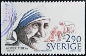 Sweden - Circa 1986: A Stamp Printed In Sweden Dedicated To Nobel Peace, Shows Mother Teresa