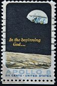 United States - Circa 1969: A Stamp Printed In Usa Shows Moon Surface And Earth, Circa 1969