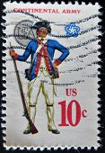 A Stamp Printed In Usa Shows Military Uniform Of The American Continental Army