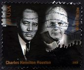 stamp printed in USA shows Charles Hamilton Houston and Walter White