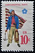 A Stamp Printed In Usa Shows Military Uniform Of The American Continental Navy