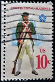 A Stamp Printed In Usa Shows  Military Uniform Of The American Continental Marines