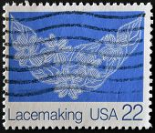 stamp printed in USA shows image of the dedicated to the Lace