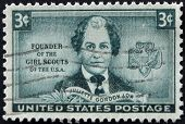 stamp printed in USA shows Juliette Gordon Low Founder of the Girls Scouts of the USA