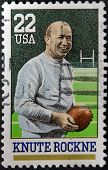UNITED STATES OF AMERICA - CIRCA 1988: A stamp printed in USA shows Knute Rockne circa 1988