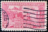 A stamp printed in USA shows the battle of Lexington-Concord. The American Revolution
