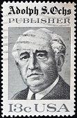 USA - CIRCA 1976 : A stamp printed in the USA shows Adolph S Ochs Portrait circa 1976