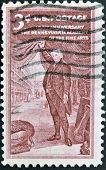 A stamp printed in the USA shows 150th Anniversary The Pennsylvania academy of the fine arts